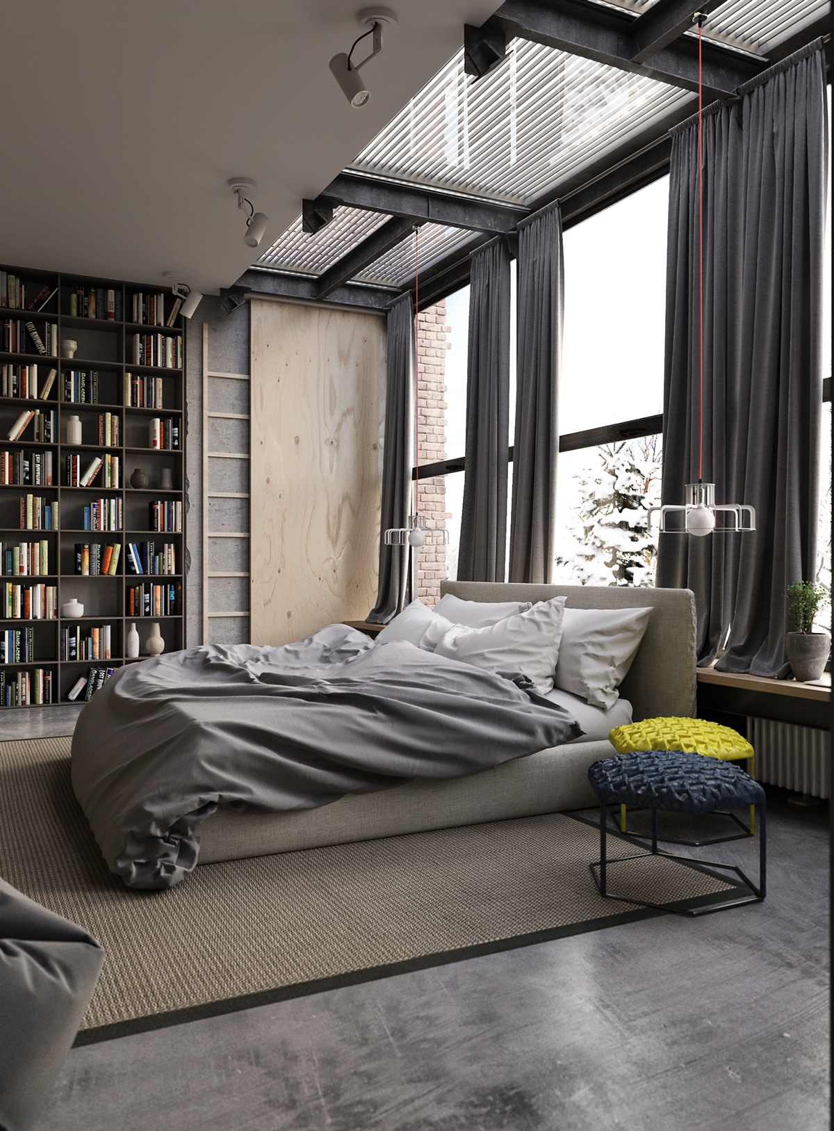 Industrial Bedroom Gray Industrial Bedroom Decor  Interior Design Ideas.
