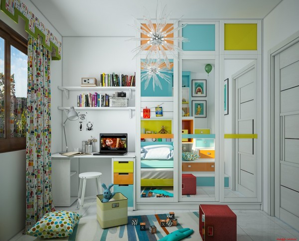 This bright bedroom is the work of architectural engineer Maggi Samir, based in Egypt. Her children's room concepts are out of this world! This one features joyful shades of orange, blue, and lime – a flexible color scheme for kids of any age.