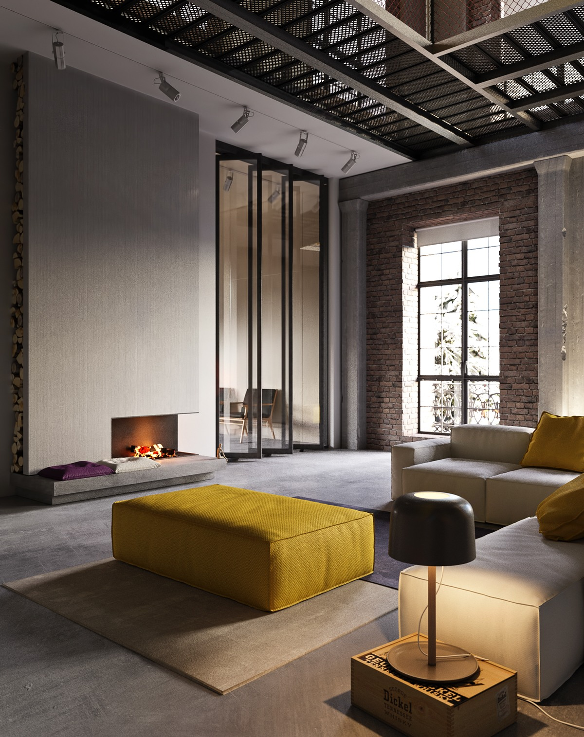 An industrial inspired apartment with sophisticated style for Cheminee interieur moderne