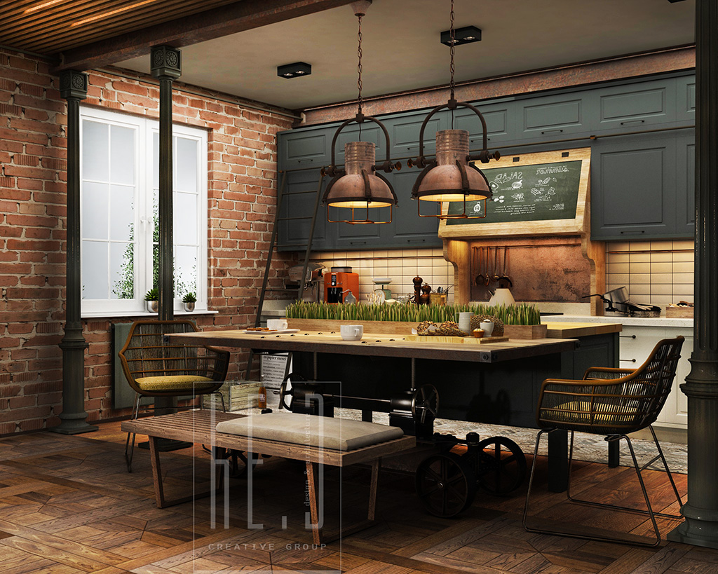 Industrial Kitchen Decor on small retro house plans