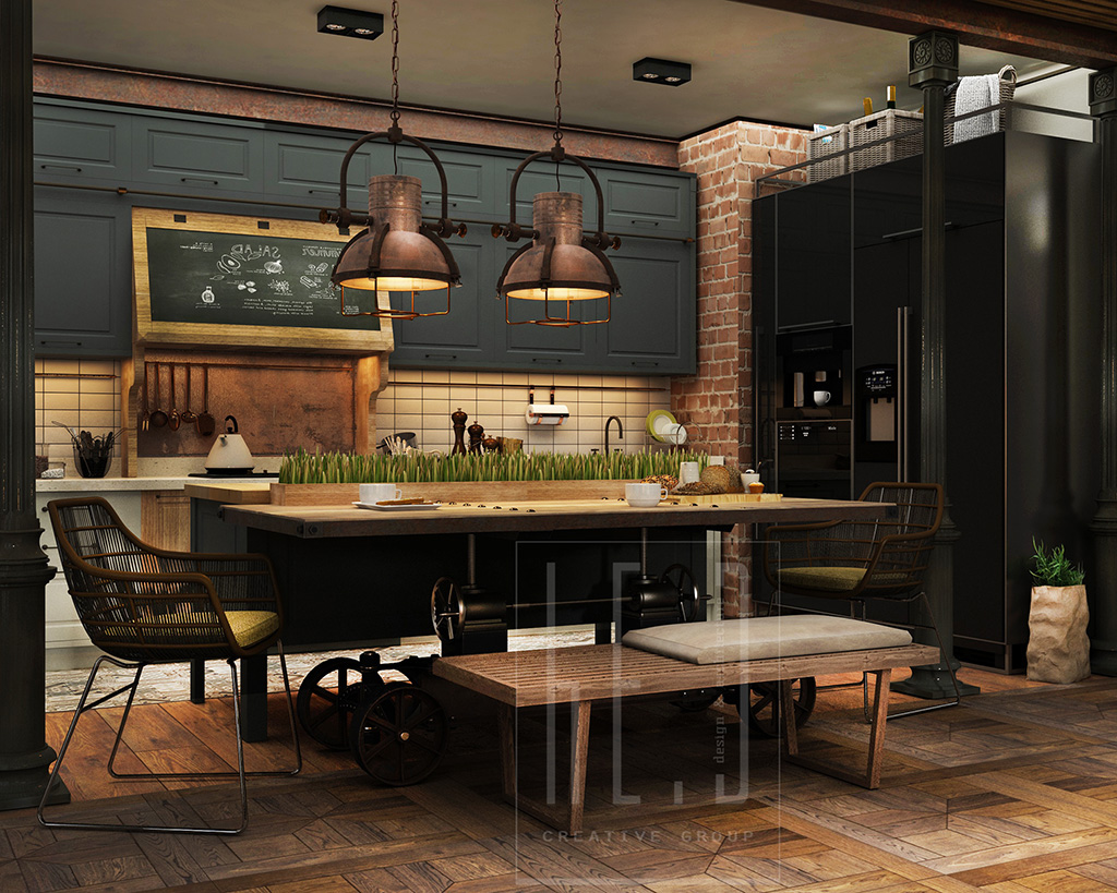 Industrial Pendant Lamps - 3 stunning homes with exposed brick accent walls
