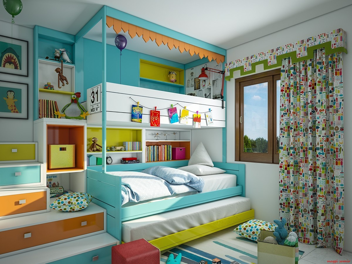 Super colorful bedroom ideas for kids and teens for Futon kids room