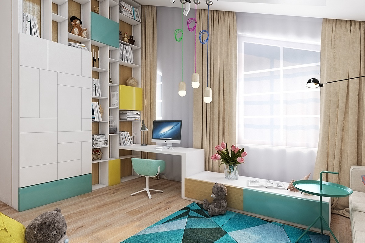 Kids Office Ideas - Super colorful bedroom ideas for kids and teens