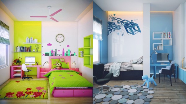 These two bedrooms couldn't get any cuter! A neon city and garden theme looks like a cartoon brought to life – and what little kid wouldn't want to sleep in a room like that? On the right, blue shapes and stripes set the imagination alight. Both of these rooms have super cute desks with miniature versions of iconic designer chairs.