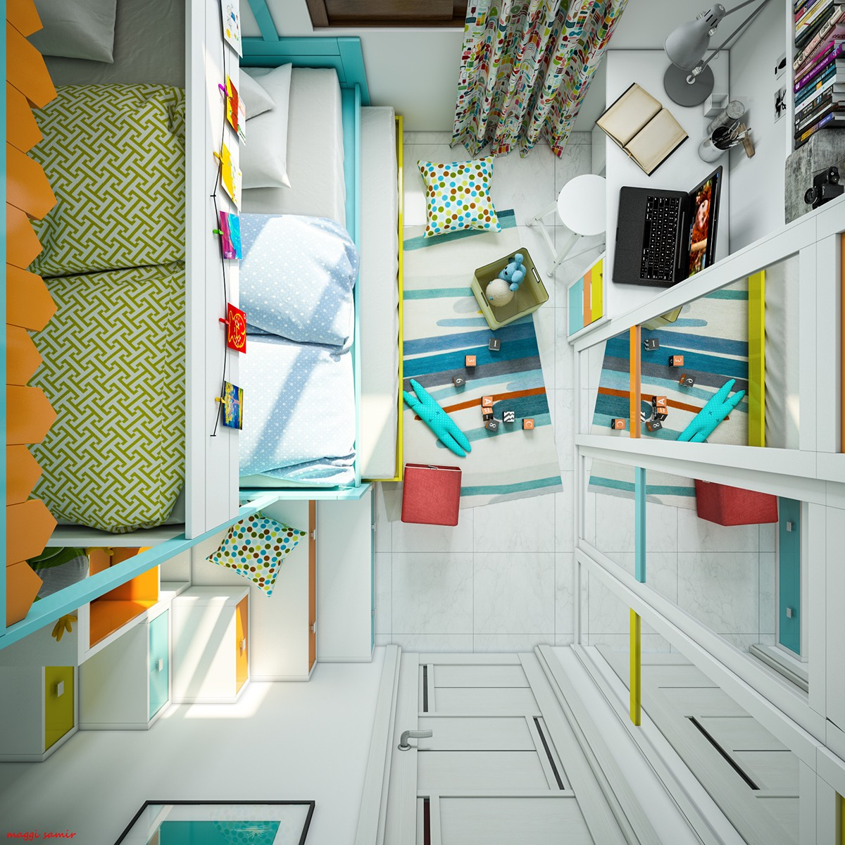 Kids Room Layout - Super colorful bedroom ideas for kids and teens