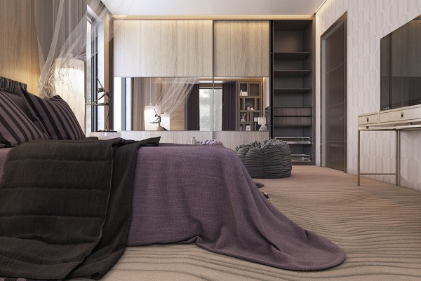 Here's a classy room for a sophisticated young woman, decked out with fun yet luxurious furniture. Mauve and brown set the tone and rich textures complete the look. The carpet is especially unique, carefully layered to invoke images of shifting sands or perhaps even exaggerated wood grain.