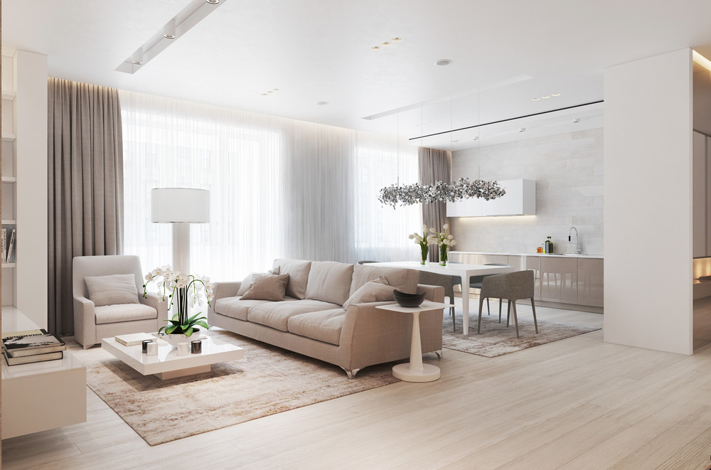 A chic pair of interiors with natural neutral design for De square design and interiors
