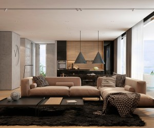 ... Two Apartments With Texture: One Soft, One Sleek · Warm Modern Interior  Design ...