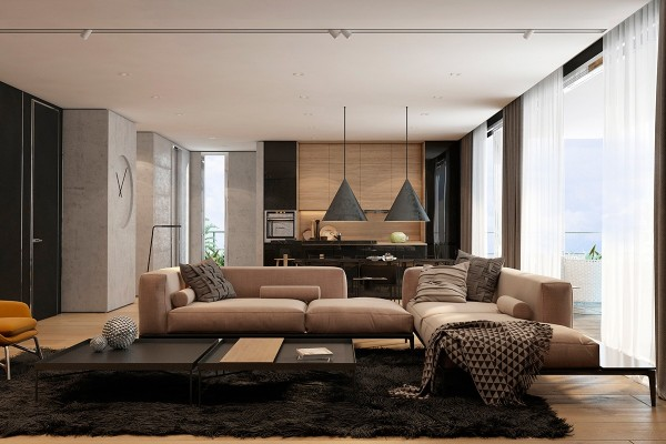 Designed by Iryna Dzhemesiuk, this Tel Aviv apartment features a warm and comfortable living room decorated with soft textures that beckon the viewer to reach out and touch them. From fuzzy wool to unfinished concrete, this space mixes and matches tactile experiences to make every square meter unique in its own right.