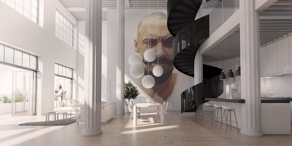 This apartment in TriBeCA NYC is part of an in-progress development by Norwegian architect Andreas Tjeldflaat. An undulating spiral staircase traverses bright atrium-style living room for access to the mezzanine floor above, all illuminated by an expanse of windows on the street-facing side. A portrait by Viktor Miller-Gausa takes up the entire far wall – an unmissable focal point that coordinates well with the natural and monochromatic color theme of the home.