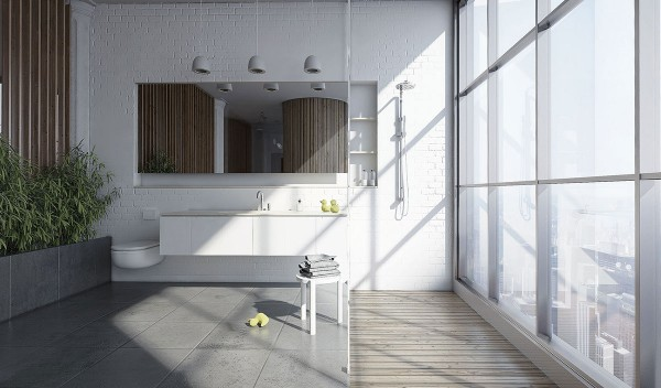 Framed by lovely planters and a gorgeous view, this bathroom is nothing short of spectacular.