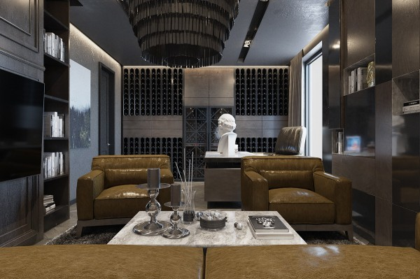 Designed by interior architects leqb, this apartment enriches its monochromatic interior with smooth mocha tones. Pictured here is the office, where a stunning wine collection enjoys a floor-to-ceiling showcase on the far wall.