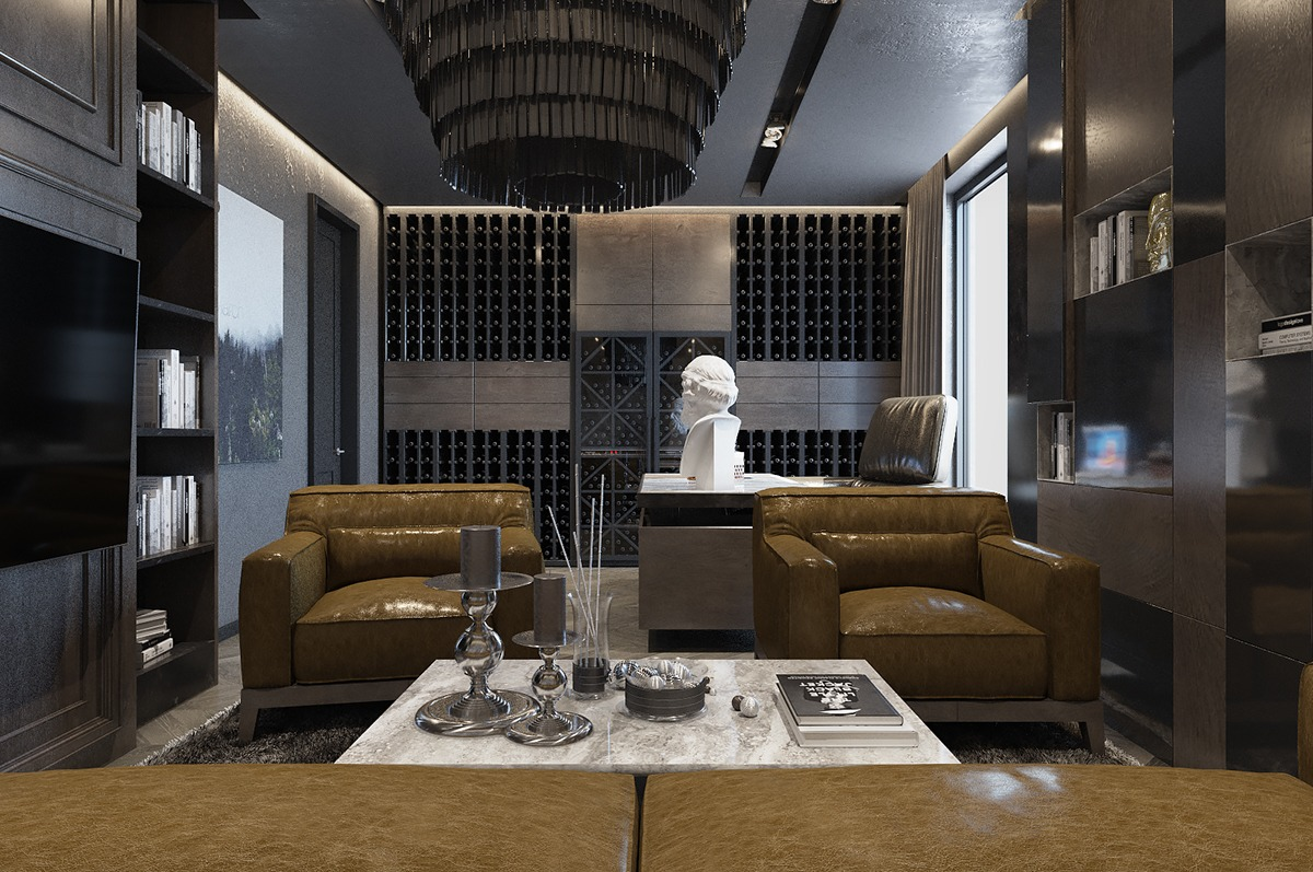 Three luxurious apartments with dark modern interiors for Luxury office interior