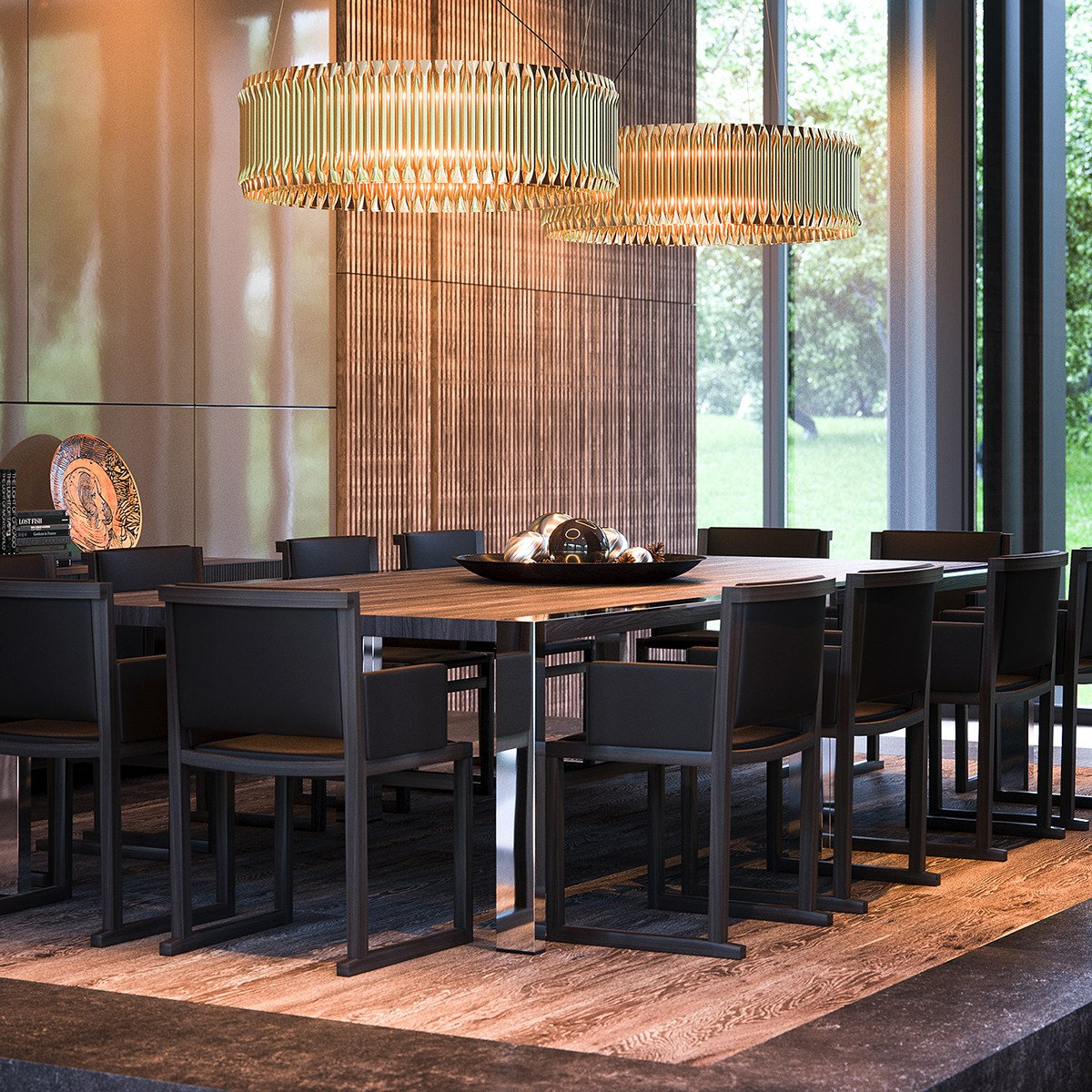 Luxury Dining Room With Natural Materials - 3 natural interior concepts with floor to ceiling windows