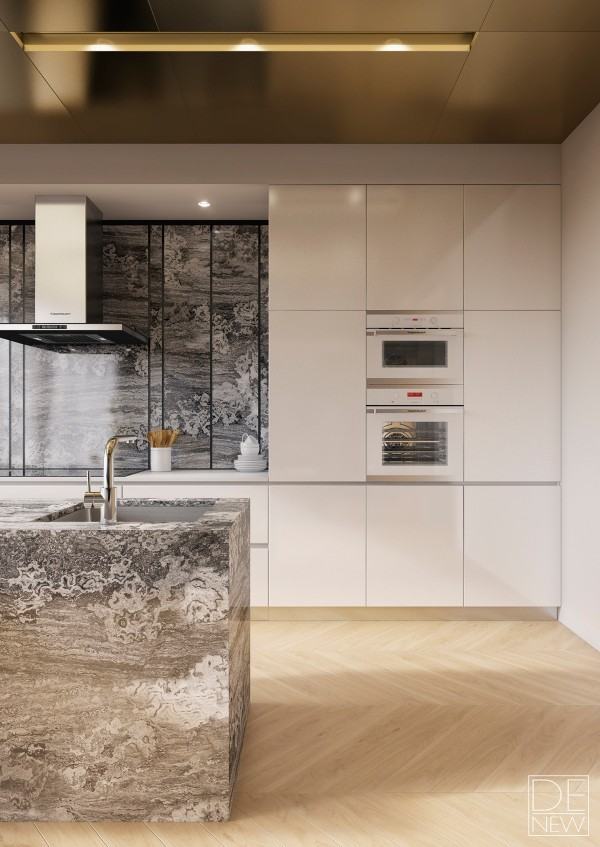 Kitchen cabinetry is either from the Maxima 2.2 collection from Cesar or the Pure collection from SieMatic – both are top of the line systems. Fixtures include a commercial quality Küppersbusch range hood and modern minimalistic faucets.