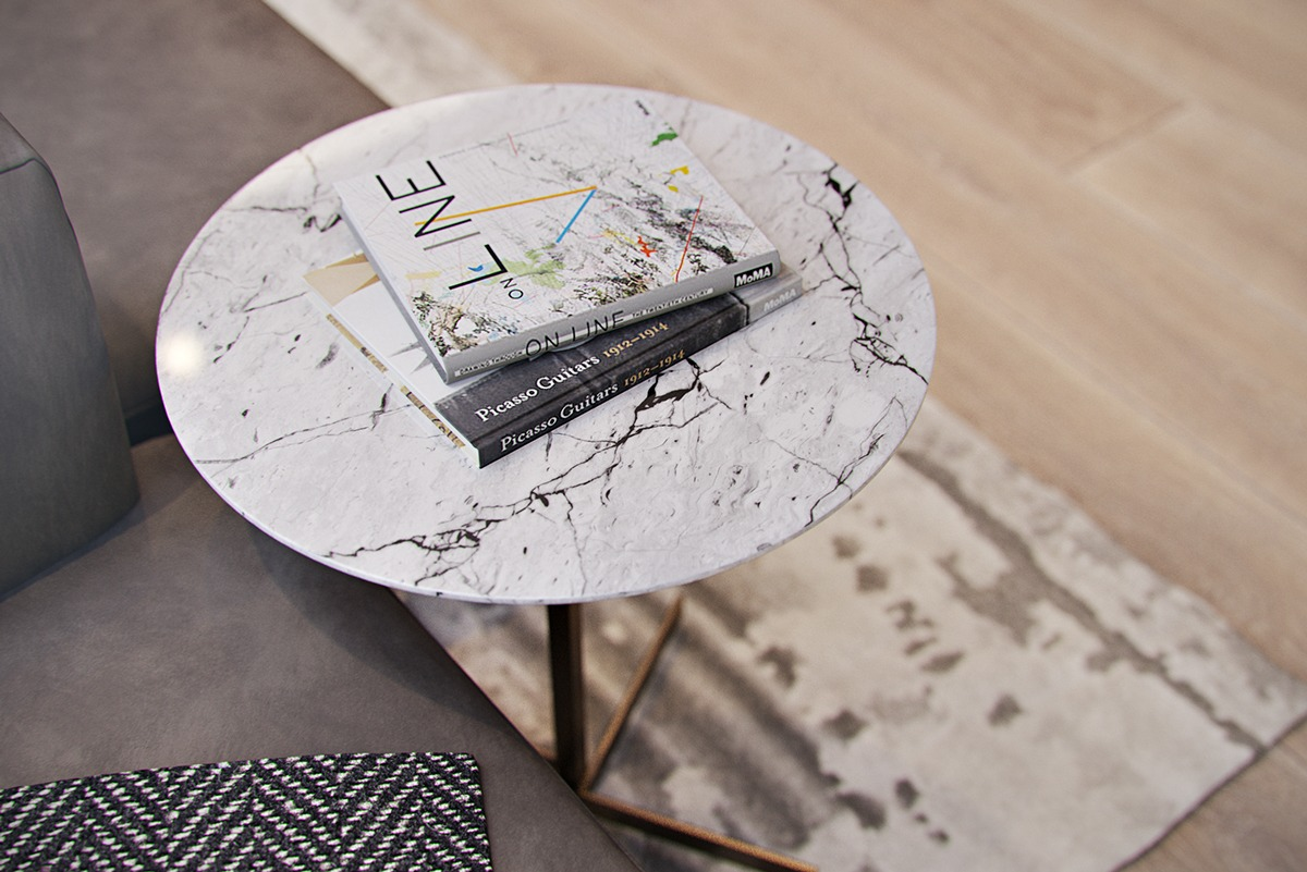 Marble Side Table - 4 modern homes with amazing fireplaces and creative lighting