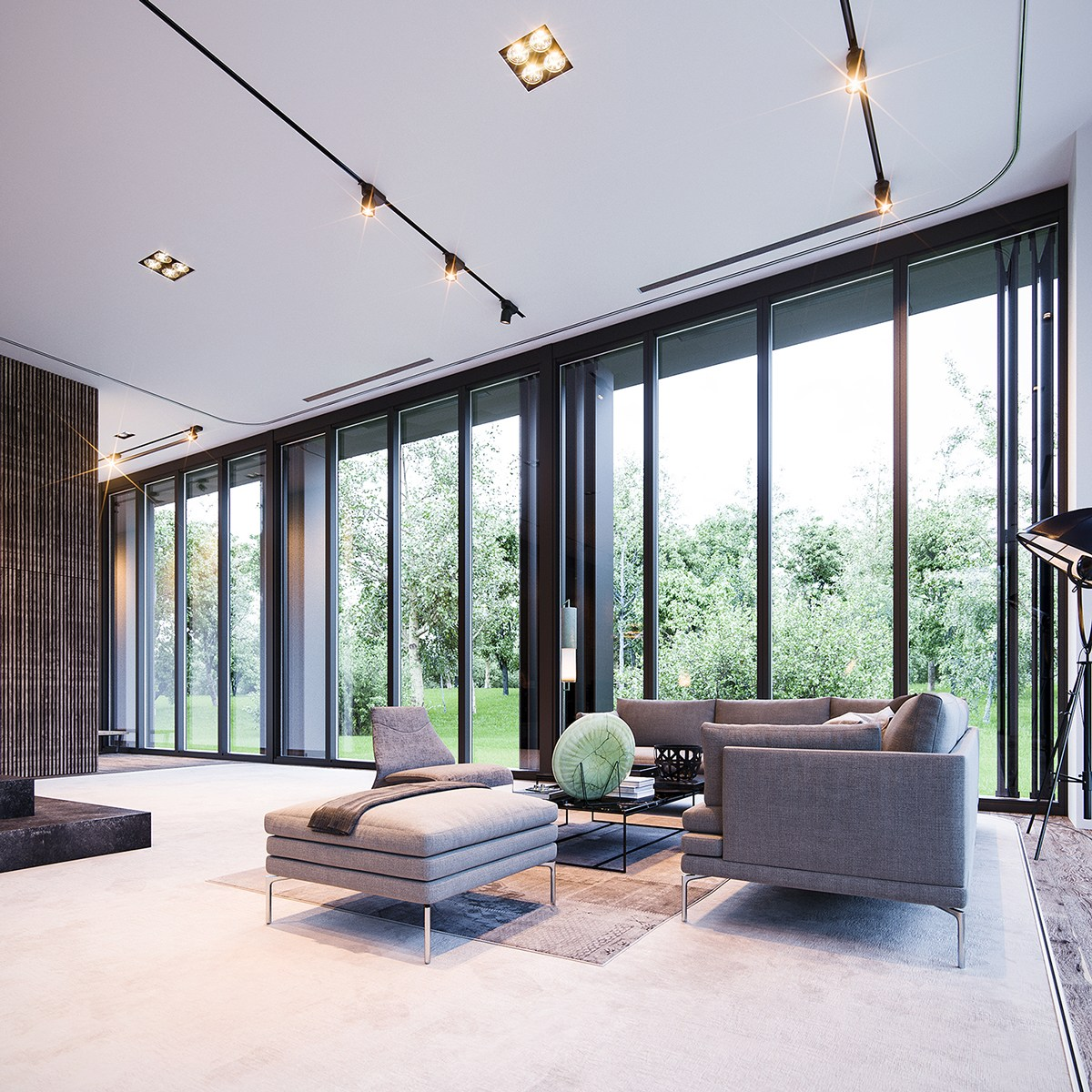 3 natural interior concepts with floor to ceiling windows for Home to win designers