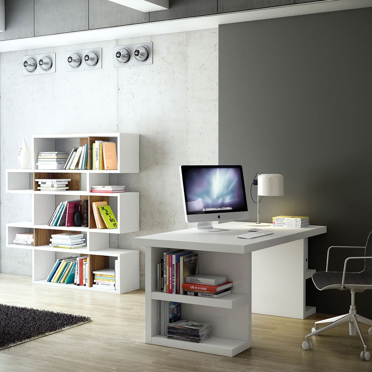 the super streamlined multi storage desk offers a clean and