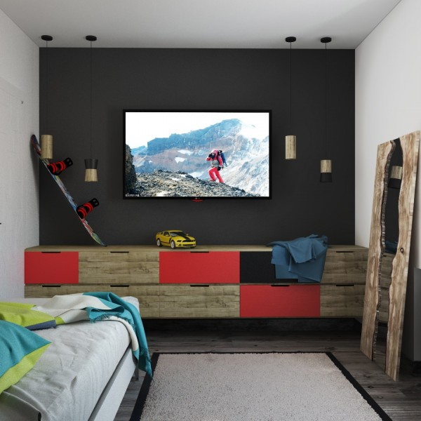 Sometimes screens seem to ruin the aesthetic of a room. But in this case, the technology really ties in with the overall super-modern design. The television definitely doesn't look like an afterthought in this arrangement.