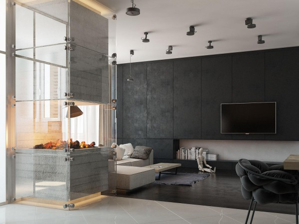 Streamlined furniture, unfinished concrete, and satin-finished wood provide a comfortable environment rich with contrast. Niche lighting above and below the fireplace secures its function as the focal point of the interior.