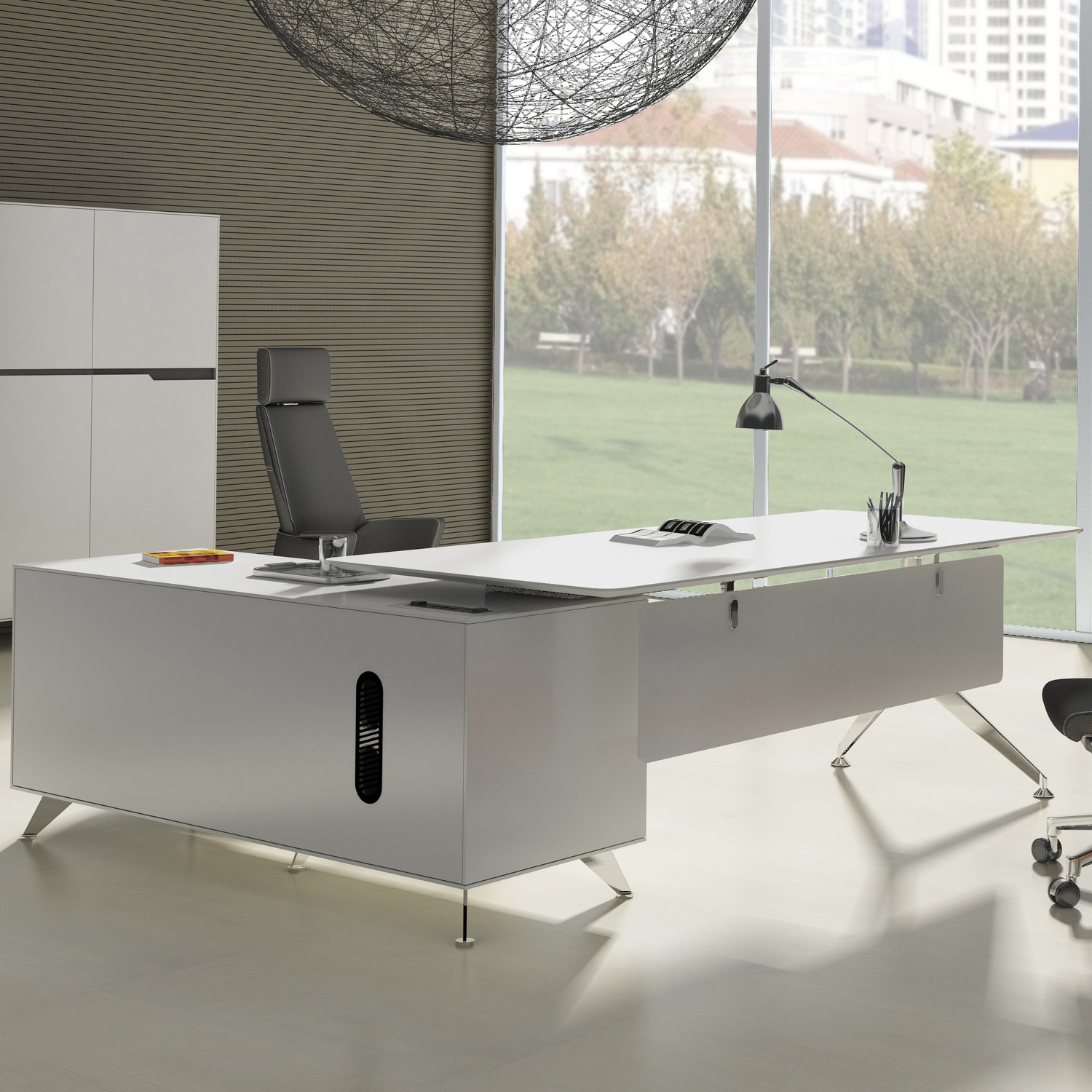 with metal a frame legs and a weightless elevated workspace this desk