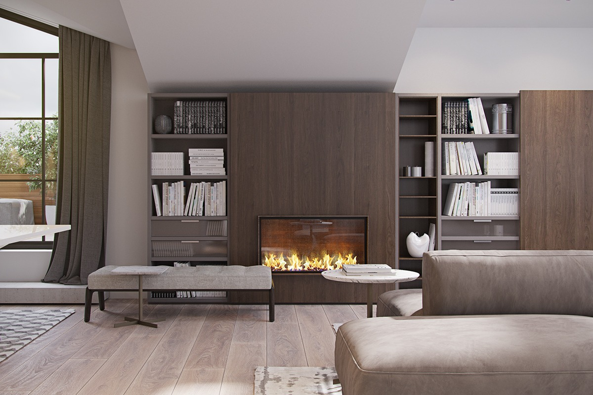 3 modern homes with amazing fireplaces and creative lighting Fireplace design ideas