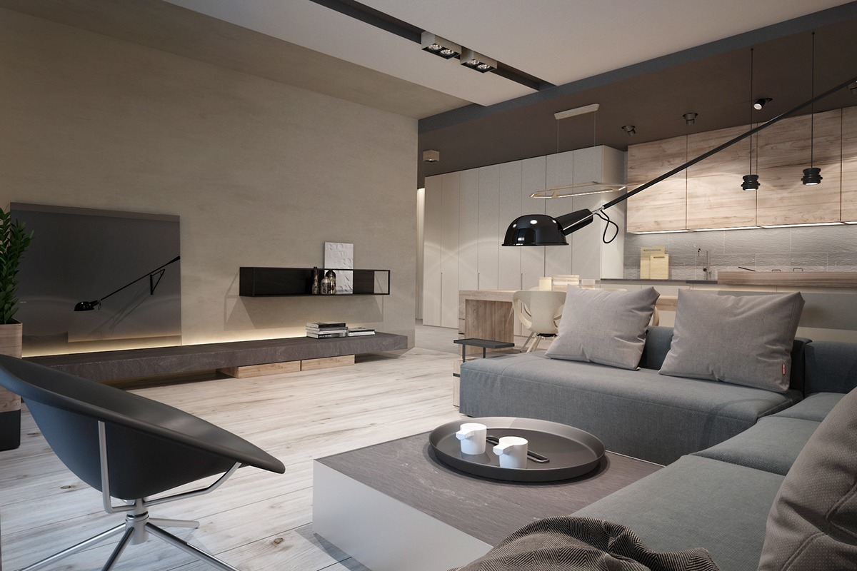 Modern Gray And Tan Living Room - A chic pair of interiors with natural neutral design