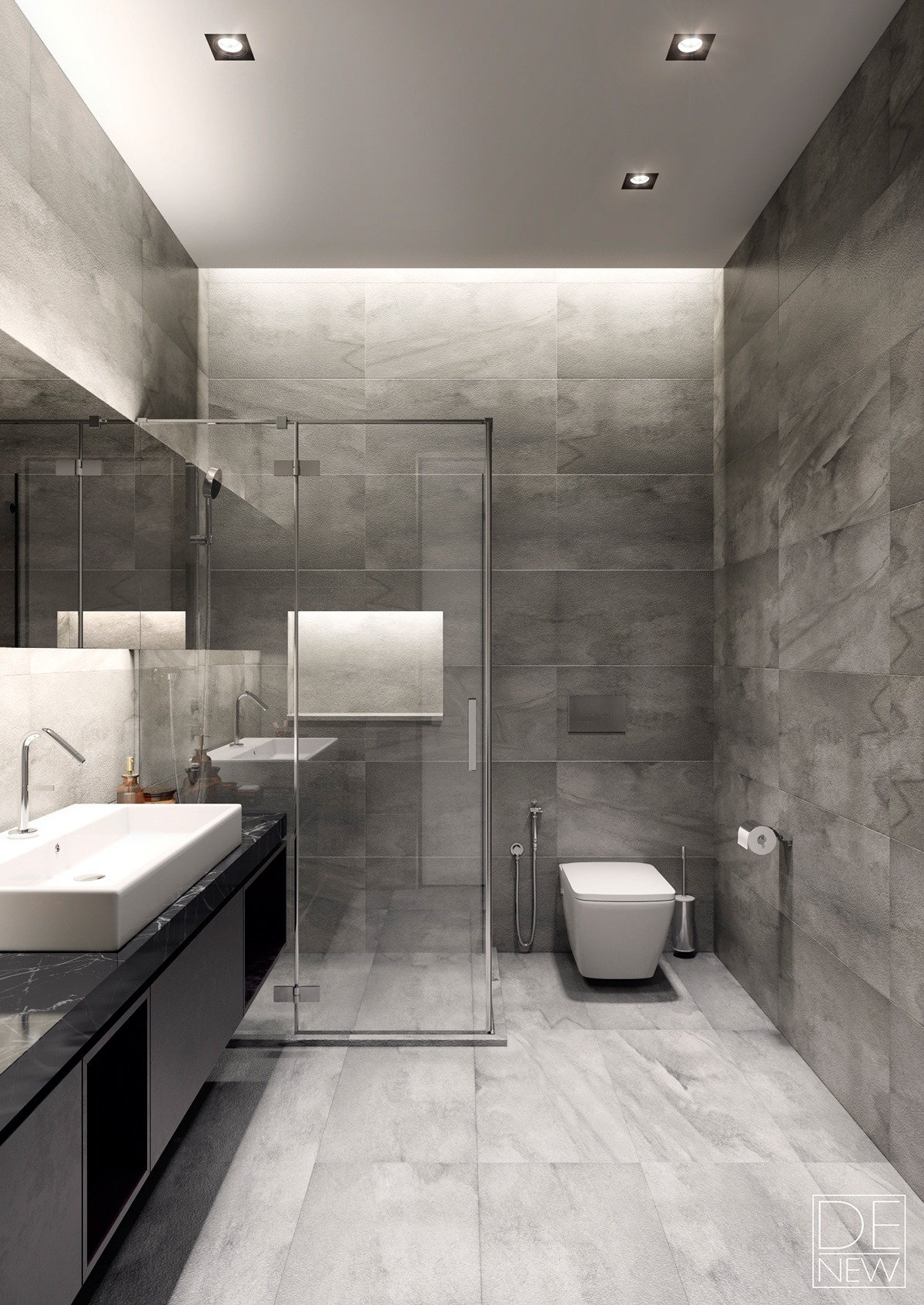 Two apartments with texture one soft one sleek for Bathroom modern design