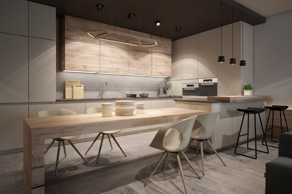 Modern Kitchen With Light Wood - A chic pair of interiors with natural neutral design
