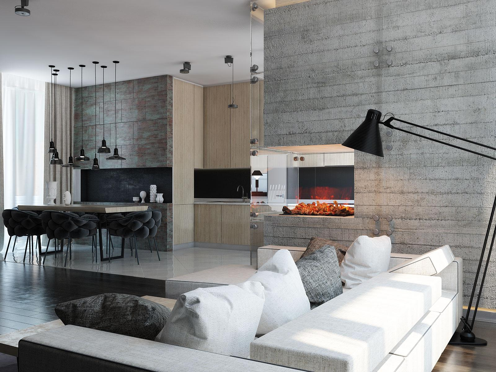 3 modern homes with amazing fireplaces and creative lighting - Chimeneas con cassette ...