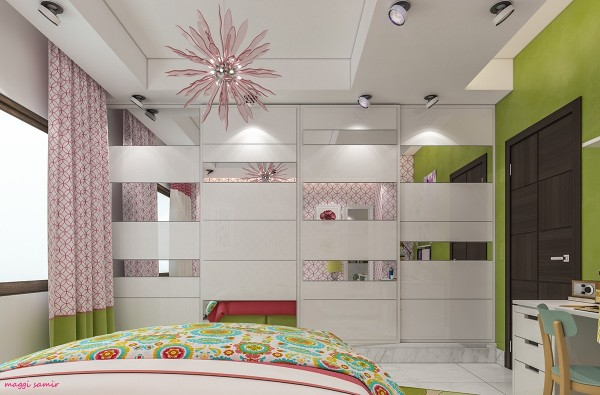 Sleek mirrored storage takes up the wall opposite the bed and reflects the wonderland colors and flowers from every angle. This light touch brightens the room with ease.