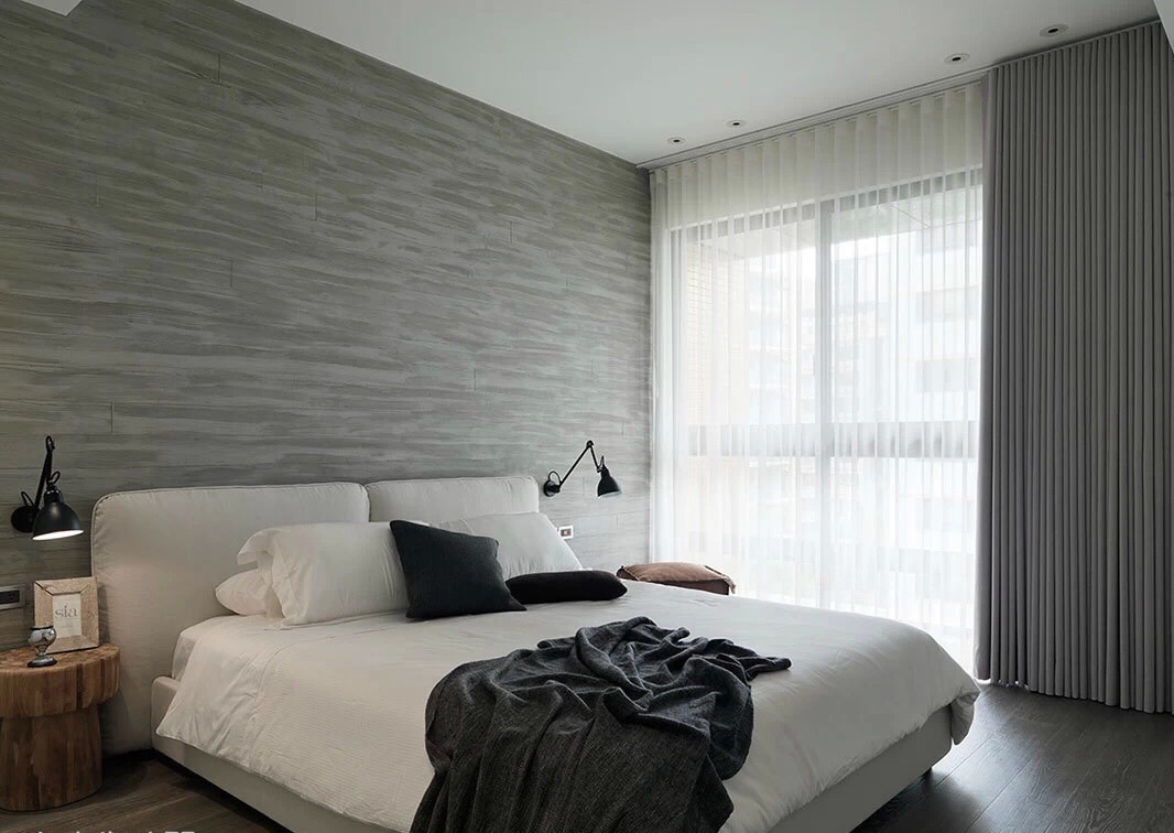 modern monochromatic bedroom