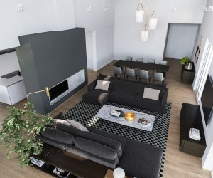 An overhead view reveals the layout to be compact and efficient, using blocks of gray to delineate each area according to function. Dark colors grouped with dark colors create a sense of intimacy and closeness – an impressive feat considering the scale and openness of the layout. The protruding volume of the accent wall separates it from the rest of the space.