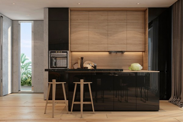 Concrete, wood grain, and heavy curtains provide a nice textural contrast to the glossy black cabinetry, completing the transition from a soft aesthetic to a sleek one. The bar stools at the kitchen island are quite unusual, featuring three legs joined together with a T shape and supported by only the faintest hint of a backrest.