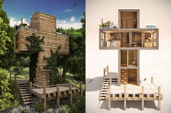 Designed for single person-usage, this compact modular home features a distinctive shape and an even more distinctive interior layout. Alternating stairs help to save space at the entrance but ladder rungs provide access to the main living spaces housed in cantilever cross-section. Ascending further, the vertical passage leads to a quiet observation deck with the potential for an amazing view.