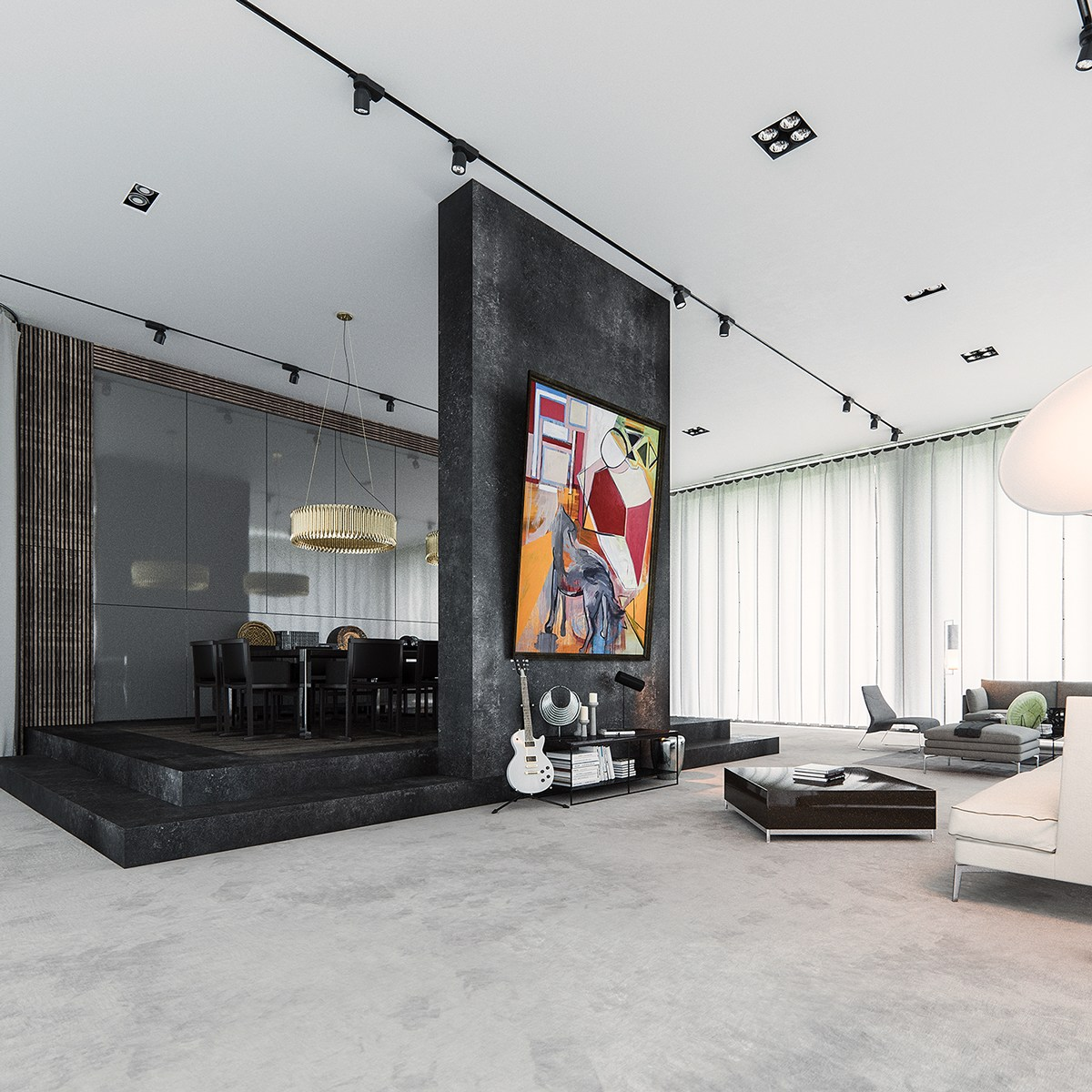 Monolithic Interior Dividing Wall - 3 natural interior concepts with floor to ceiling windows
