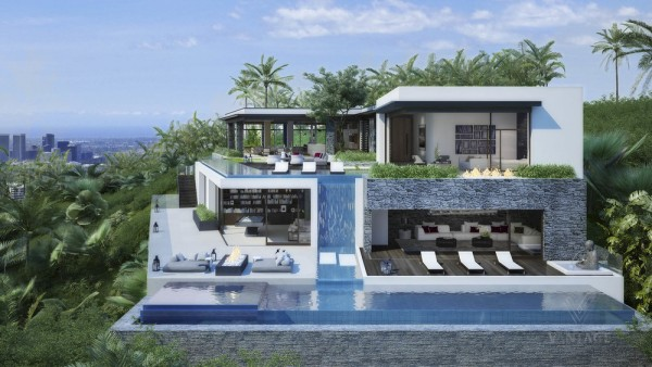 On the exterior, a drama of fire and water unfolds – grill pits and decorative fire features dance alongside vast glass-walled pools, the upper pool pouring into the lower pool by way of a modern waterfall.