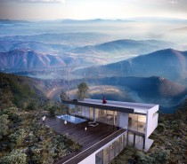 Roughage and timber resolve into orderly rectilinear architecture. The visualized landscape is whimsical, but the home itself is equally breathtaking.