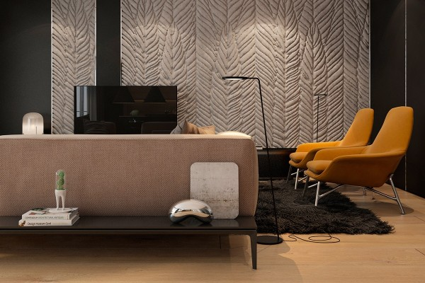 Built-in low tables make this sofa ideal for placement in the middle of a room. Here, miniature works of art brighten the apartment. One is a small-scale version of the Cloud Gate sculpture by Anish Kapoor – the full size version of which serves as an interactive exhibit in Chicago. The other piece is the Domsai planter by Matteo Cibic, inspired by the Tamagotchi trend of the 90s.
