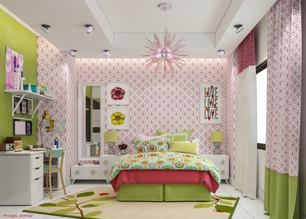 Another fun bedroom concept from Maggi Samir, featuring hot pink and lime with sleek modern decor and a strong pop art attitude. Bold patterns make this space seem full of life and laughter.