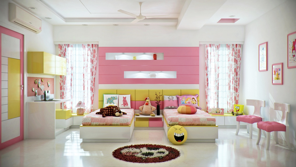 Pink And Yellow Girls Room - Super colorful bedroom ideas for kids and teens