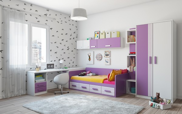 A delicate bedroom decked out in pretty lavender and fresh bright white – surely a lovely little place to wake up in the morning. Birds in flight make for a nice accent wall, a motif the resident can appreciate at any age.