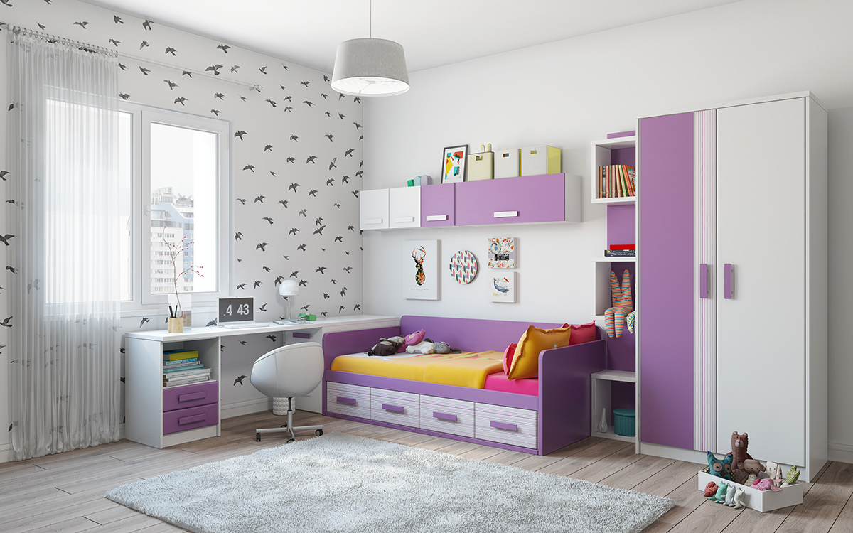 Purple And White Kids Room - Super colorful bedroom ideas for kids and teens
