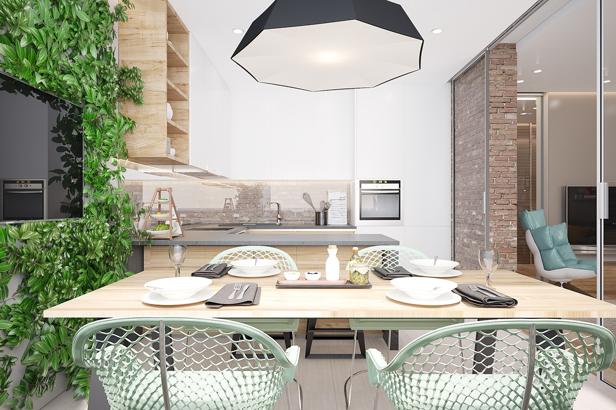 Seafoam Green Kitchen - 3 stunning homes with exposed brick accent walls