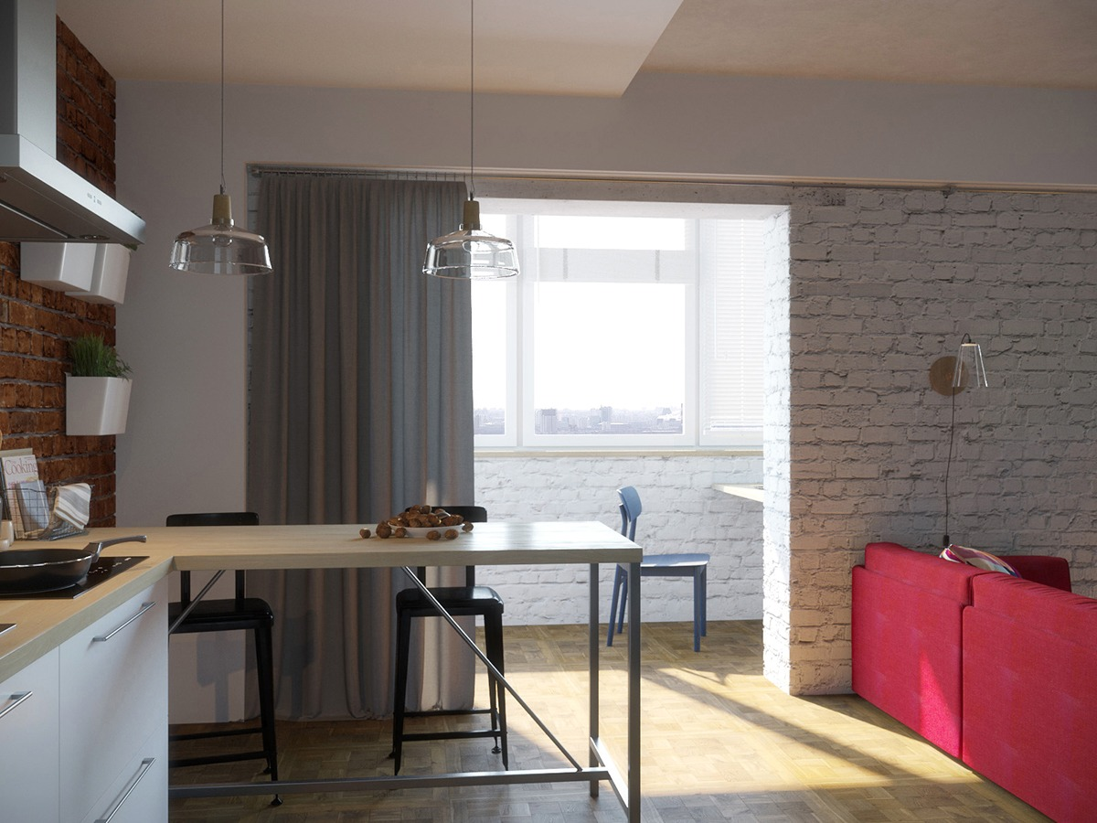 Wood and white apartment. small yellow apartment. small apar.