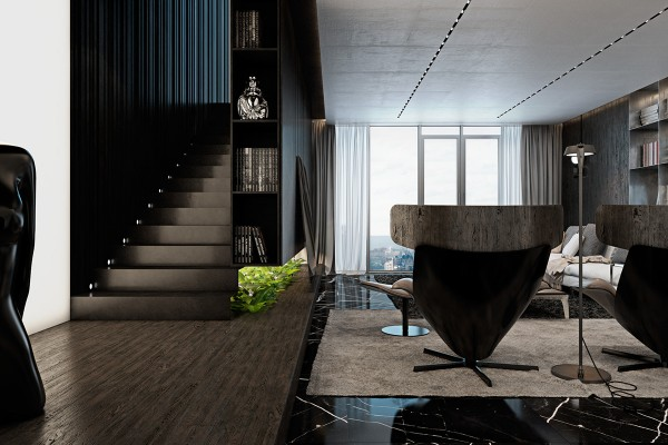 Glossy wall cladding and subtle recessed lights brighten the stairway despite its ultra-dark color scheme. Designers are often wary of using a palette that runs the risk of making a stairwell look too gloomy and foreboding, but it's so easy to love this one with its sleek and creative atmosphere.