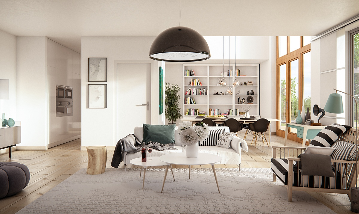 3 natural interior concepts with floor to ceiling windows for Danish design home accessories