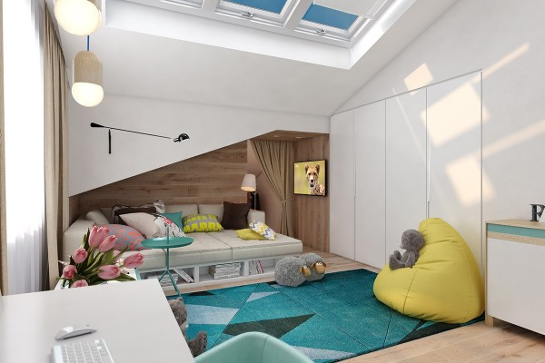 Tucked into an alcove, the extra-deep sofa doubles as a daybed or a guest bed.