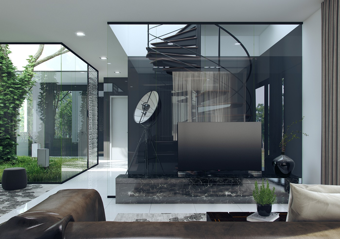 3 natural interior concepts with floor to ceiling windows for Interior decoration with glass