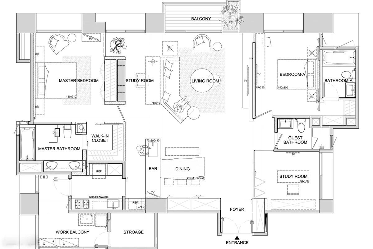 Asian interior design trends in two modern homes with for Floor plan layout
